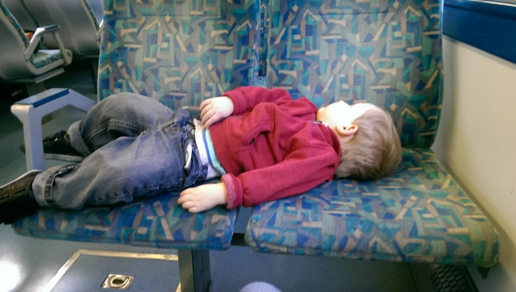 napping on a train