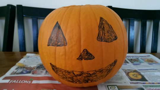 When your toddler sabotages your pumpkin carving