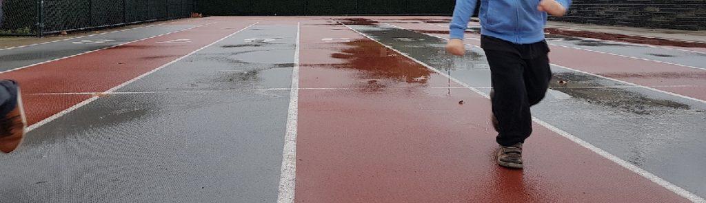 rainy race track